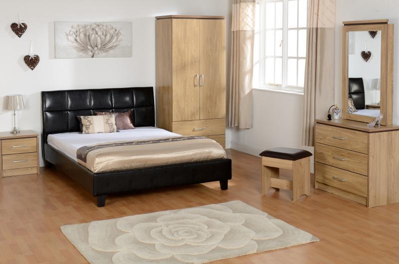 ... Credit Crunch Carpets Charles 2 Door 2 Drawer Wardrobe In Oak Effect  Veneer With Walnut Trim ...