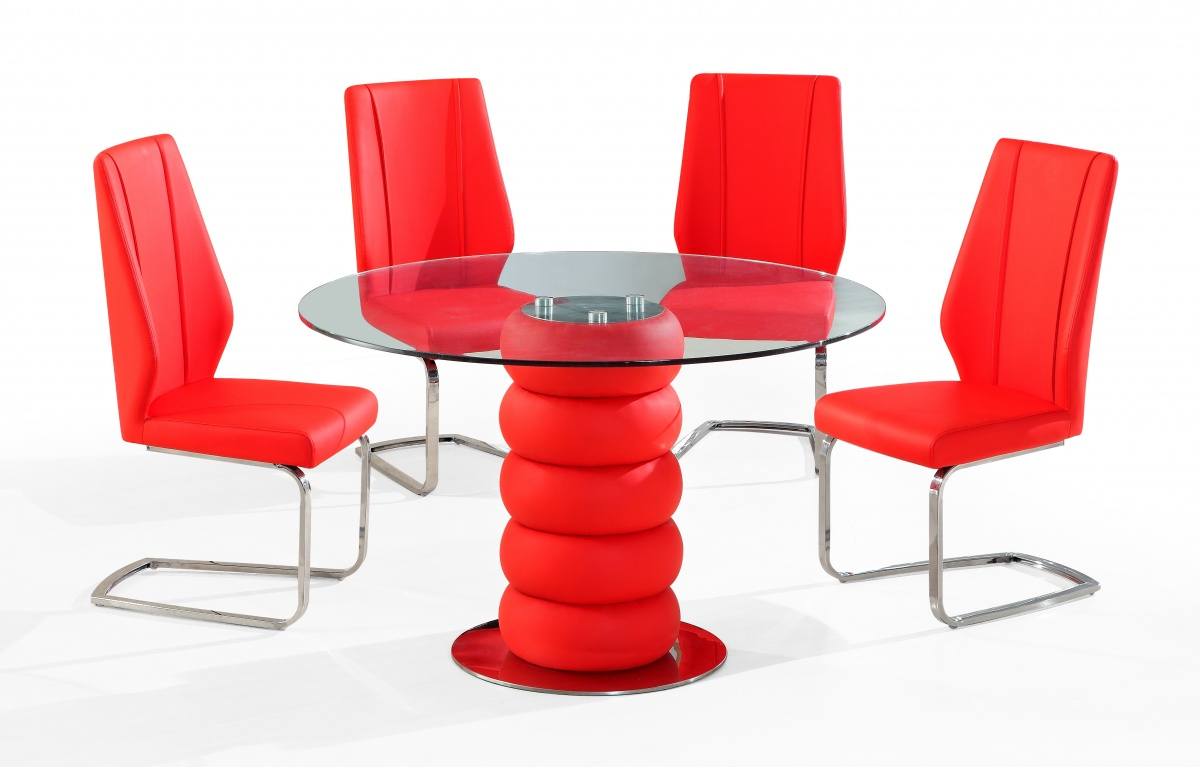 Beau Credit Crunch Carpets Majuba 4 Chair Dining Set In Red