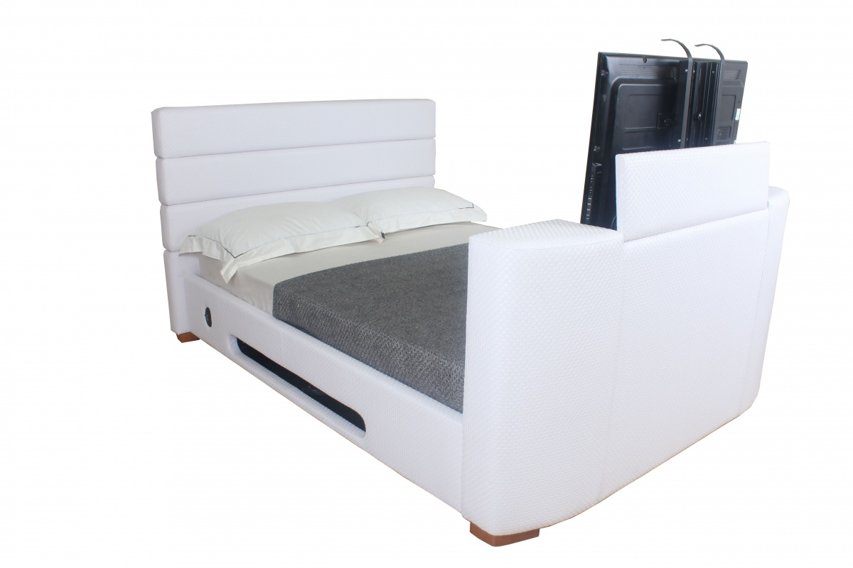Super king size bed with tv - Credit Crunch Carpets Balmain Faux Leather King Size Tv Bed