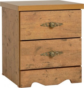 Credit Crunch Carpets Cairo 2 Drawer Bedside Chest in Dark Kennedy Pine Effect Veneer