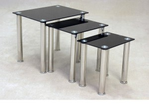 Togo Black Nest of Tables
