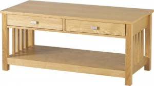 Credit Crunch Carpets Ashmore 2 Drawer Coffee Table in Ash Veneer