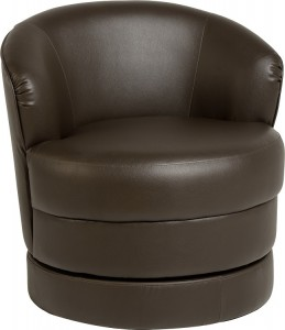 Oscar Swivel Tub Chair in Expresso Brown PVC