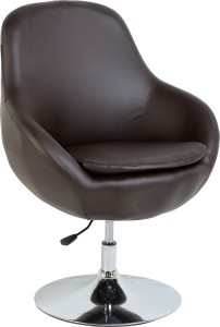 Austin Swivel Tub Chair in Brown PU/Chrome