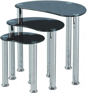 Cara Nest of Tables in Black Glass/Silver