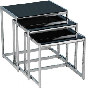 Credit Crunch Carpets Novella Nest of Tables in Black Glass/Chrome