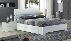Widney 4 Drawer High Gloss White King Size Bed