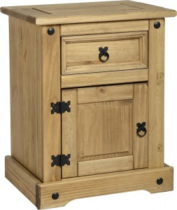 Credit Crunch Carpets Corona 1 Drawer 1 Door Bedside Cabinet in Distressed Waxed Pine