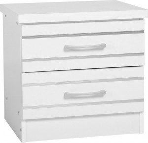 Jordan 2 Drawer Bedside Chest in White/Silver Trim