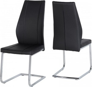 Credit Crunch Carpets A1 Chair in Black PU/Chrome