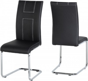 Credit Crunch Carpets A2 Chair in Black PU/Chrome