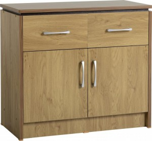 Charles 2 Door 2 Drawer Sideboard in Oak Effect Veneer with Walnut Trim