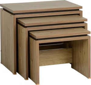 Charles Nest of Tables in Oak Effect Veneer with Walnut Trim
