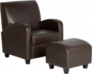 Club Chair with Footstool in Brown Bonded Leather