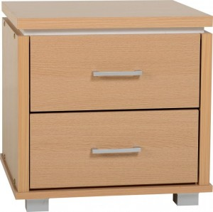 Credit Crunch Carpets Julia 2 Drawer Bedside Chest in Beech/White Trim