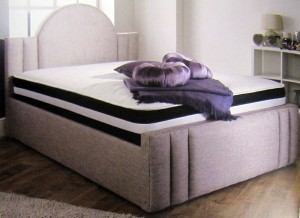 Credit Crunch Carpets Barra Luxury Upholstered Double Bed with Lift Up Storage
