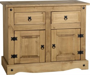 Corona 2 Door 2 Drawer Sideboard Distressed Waxed Pine