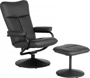 Kansas Recliner Chair with Footstool Black