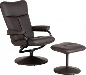 Kansas Recliner Chair with Footstool Brown