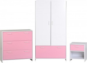 Lollipop Bedroom Set in White/Pink