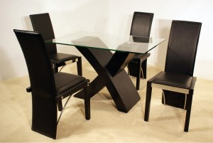 Arizona 4 Chair Dining Set in Black