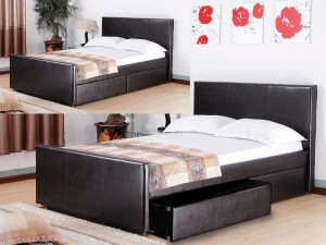 Britannic Faux Leather 4 Drawer Double Bed