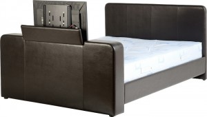 Preston 4 foot 6 inch TV Bed in Expresso Brown Faux Leather