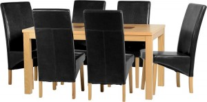 Credit Crunch Carpets Wexford 59 inch Dining Set - G1 in Oak Veneer/Walnut Inlay/Black Faux Leather