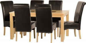 Wexford 59 inch Dining Set - G10 in Oak Veneer/Walnut Inlay/Expresso Brown Faux Leather