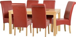 Credit Crunch Carpets Wexford 59 inch Dining Set - G10 in Oak Veneer/Walnut Inlay/Rustic Red Faux Leather