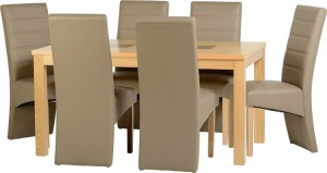 Credit Crunch Carpets Wexford 59 inch Dining Set - G5 in Oak Veneer/Walnut Inlay/Taupe Faux Leather