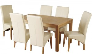 Belgravia 6 Chair Dining Set in Natural Oak Veneer/Cream Faux Leather