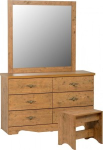 Cairo 6 Drawer Dressing Table Set in Dark Kennedy Pine Effect Veneer