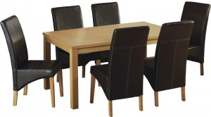Belgravia 6 Chair Dining Set in Natural Oak Veneer/Expresso Brown Faux Leather