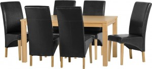 Belgravia 6 Chair Dining Set in Natural Oak Veneer/Black Faux Leather