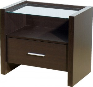 Credit Crunch Carpets Denver 1 Drawer Bedside Cabinet in Expresso Brown/Clear Glass