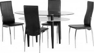 Berkley Dining Set in Clear Glass/Frosted Glass/Black/Black PVC/Chrome