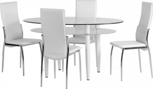 Credit Crunch Carpets Berkley Dining Set in Clear Glass/Frosted Glass/White/White PVC/Chrome