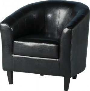 Tempo Tub Chair in Black Faux Leather