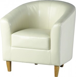 Tempo Tub Chair in Cream Faux Leather