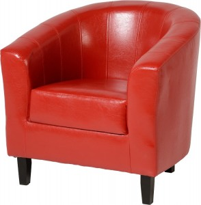 Tempo Tub Chair in Rustic Red Faux Leather