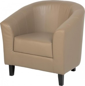 Tempo Tub Chair in Taupe Faux Leather