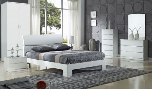 Arden White High Gloss Double Bed