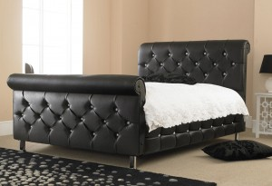 Diamond Sleigh King Size Bed in Faux Leather