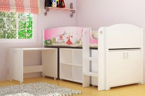 Princess Study Bunk in White