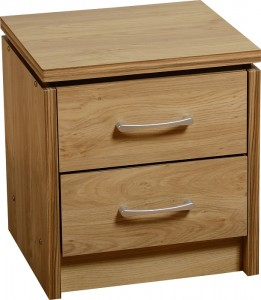 Credit Crunch Carpets Charles 2 Drawer Bedside Chest in Oak Effect Veneer with Walnut Trim