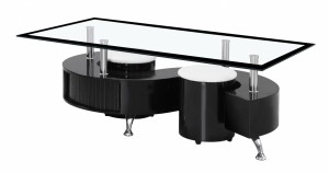 Boule Black High Gloss Coffee Table with Black Bordered Glass Top