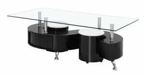 Credit Crunch Carpets Boule Black High Gloss Coffee Table with Clear Glass Top