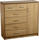 Charles 1 Door 6 Drawer Chest in Oak Effect Veneer with Walnut Trim