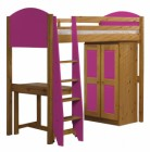 Verona High Sleeper Bed Set 1 Antique With Fuschia Details